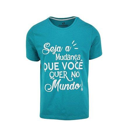 Camiseta Masculina Seja a Mudança Turquesa