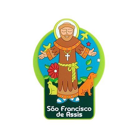 Imã emborrachado alto-relevo São Francisco de Assis