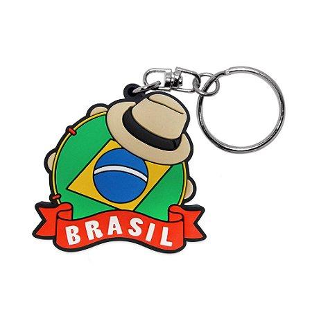 Chaveiro emborrachado pandeiro - Brasil