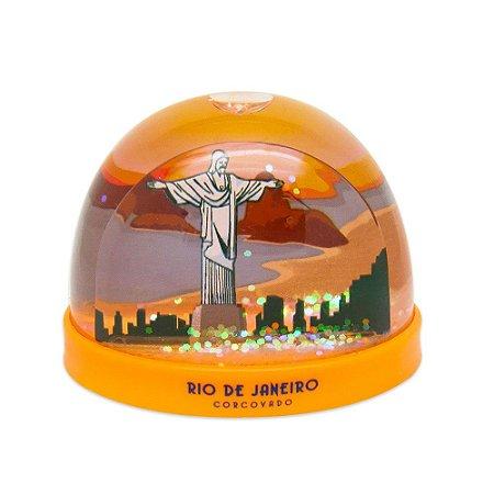Globo de neve plástico Corcovado / laranja - Rio de Janeiro