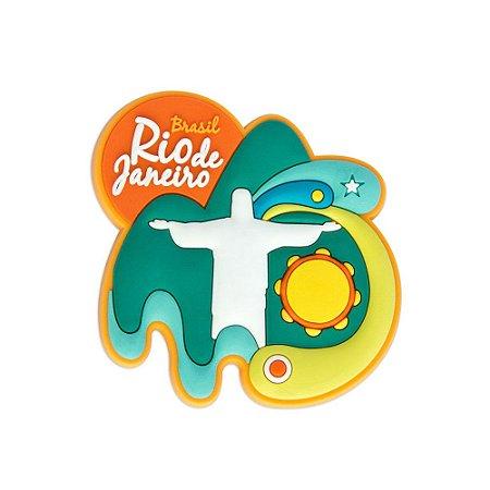 Imã de geladeira emborrachado Cristo retrô - Rio de Janeiro