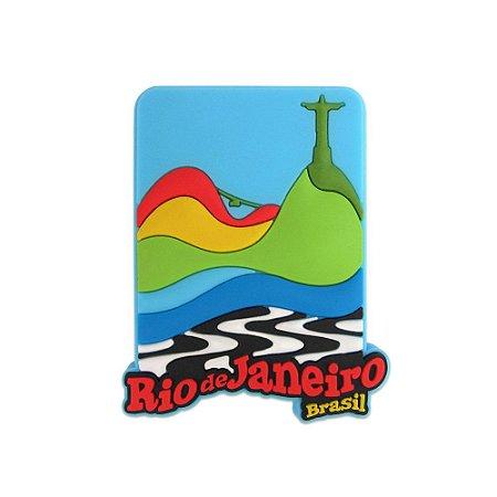 Imã de geladeira Rio Cristo / azul - Rio de Janeiro