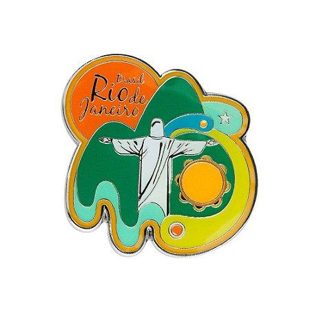 Imã de geladeira de metal colorido - Rio de Janeiro
