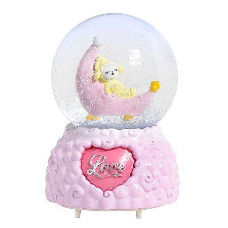 Globo De Neve Musical Com Iluminação Em Led - Pink Love
