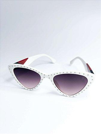 Óculos de sol Perla Prado ref: Anine Cor: Branco com Strass