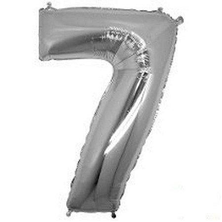 Balão Número 7 Metalizado Prata - 40cm x 30cm