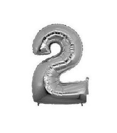 Balão Número 2 Metalizado Prata - 40cm x 30cm