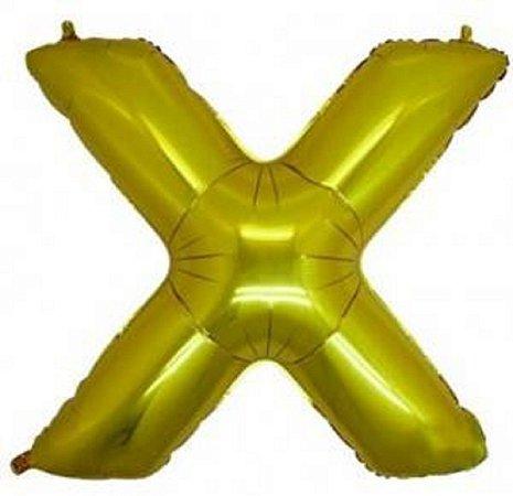 Balão Letra X Metalizado Dourado - 30cm x 40cm