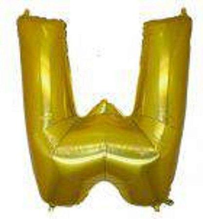 Balão Letra W Metalizado Dourado -  30cm x 40cm