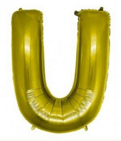 Balão Letra U Metalizado Dourado - 30cm x 40cm