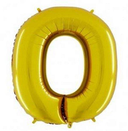 Balão Letra O Metalizado Dourado - 30cm x 40cm
