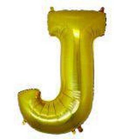 Balão Letra J Metalizado Dourado - 30cm x 40cm