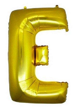 Balão Letra E Metalizado Dourado - 30cm x 40cm