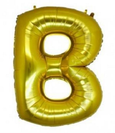 Balão Letra B Metalizado Dourado - 30cm x 40cm