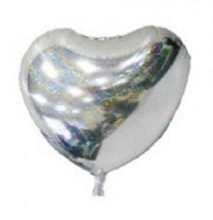Balão Metalizado Coração Tam 18 Prata 46cm