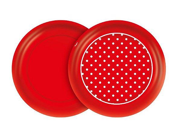 Prato 18cm Festa Colors Vermelho Poá 8 Unidades