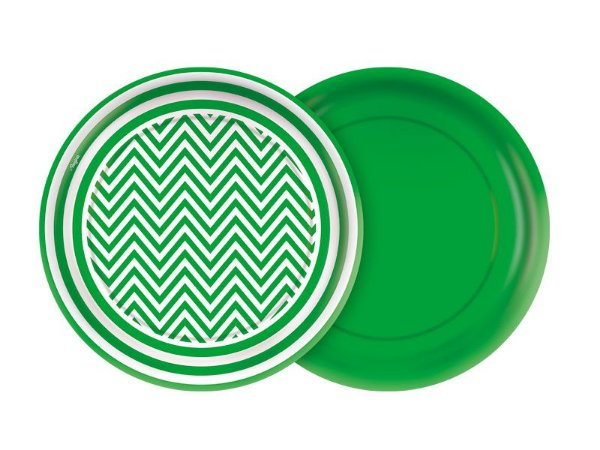 Prato 18cm Festa Colors Verde Chevron 8 Unidades