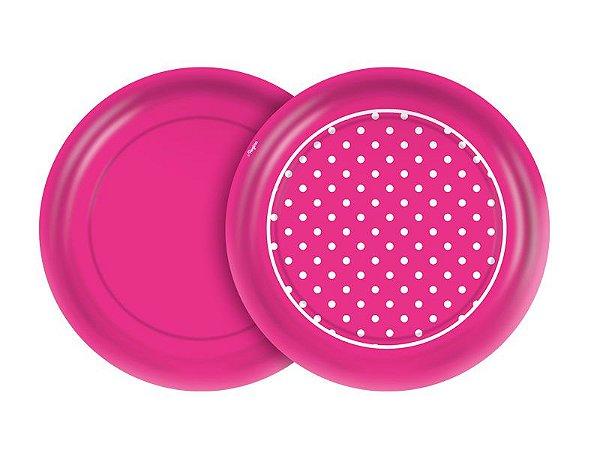 Prato 18cm Festa Colors Pink Poá 8 Unidades