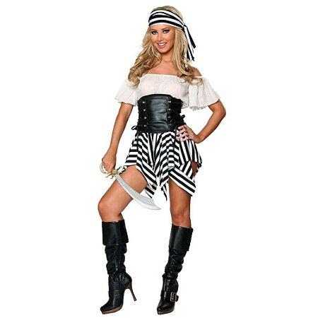 Fantasia Adulto Pirata Feminino Tam Único - Aluguel