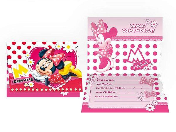 Convite Pequeno Red Minnie 8 Unidades