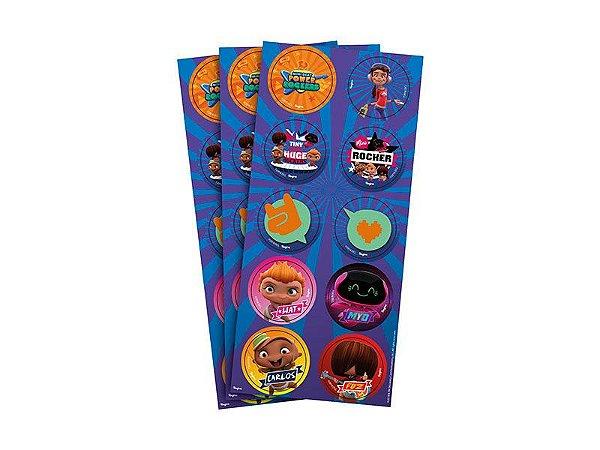 Adesivo Decorativo Redondo Mini Beat Power Rocks - Pack 03 Unidades