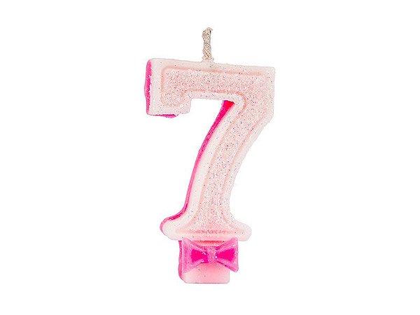 Vela Super com Glitter Rosa Número 7