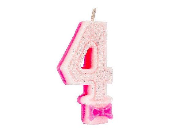 Vela Super com Glitter Rosa Número 4
