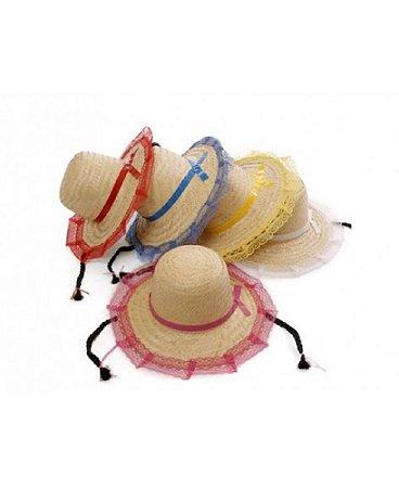 Chapéu de Palha com Renda e Trança