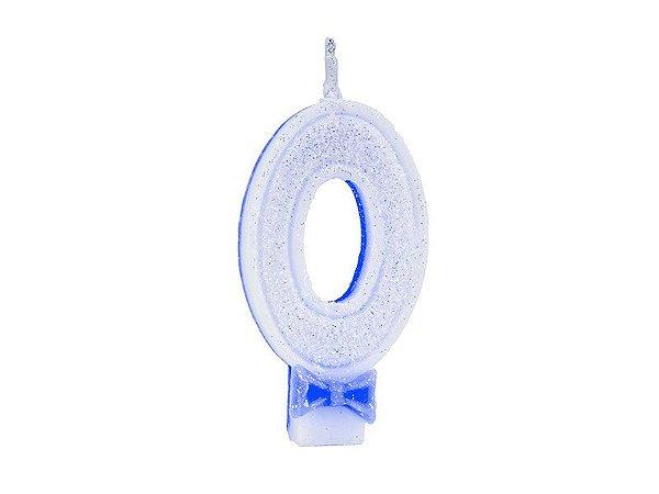 Vela Super com Glitter Azul Número 0