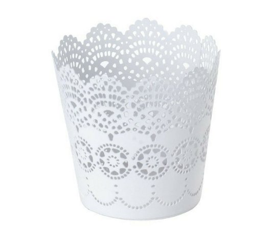 Cesto Multiuso Decorado 14 cm Branco