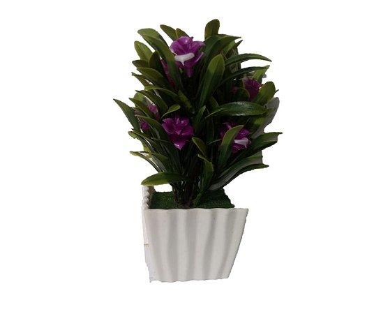 Vaso Com Flor Artificial Roxa