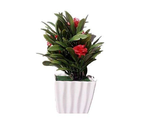 Vaso Com Flor Artificial Vermelha