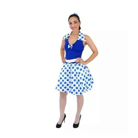 Fantasia anos 60 azul adulto P - Usado