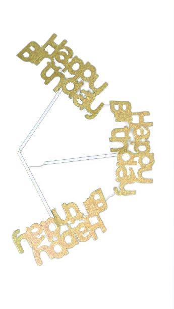 Plaquinhas Happy Birthday Dourada