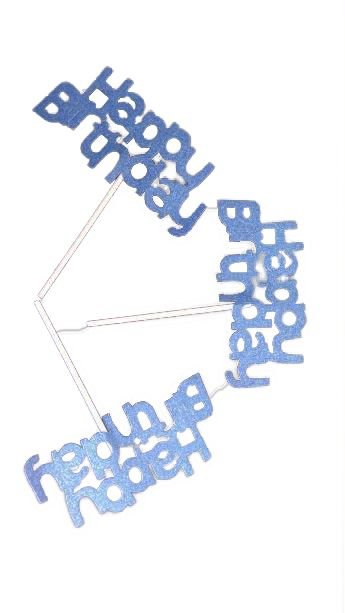 Plaquinhas Happy Birthday Azul