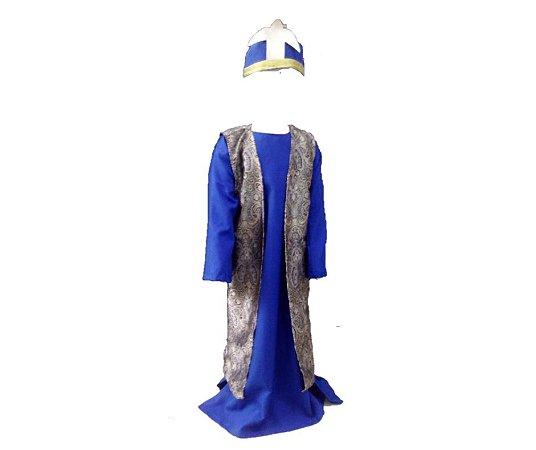 Fantasia Rei Mago Azul infantil tam 6 - Usado
