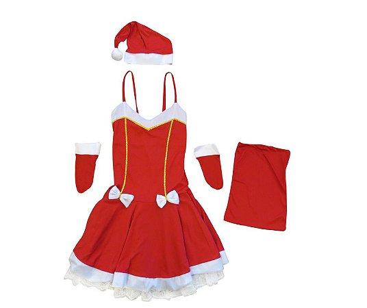 Fantasia Mamãe Noel com detalhe dourado adulto tam G- Aluguel