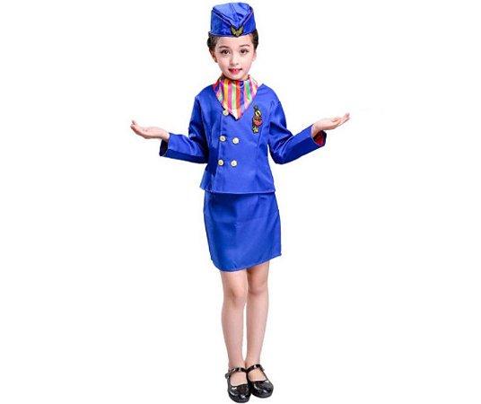 Fantasia aeromoça azul infantil tam 10 - Aluguel