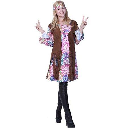 Fantasia Vestido Hippie adulto tam G- Aluguel