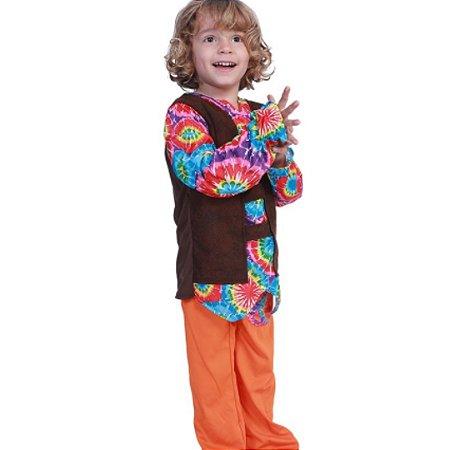 Fantasia hippie colorida unissex infantil tam 10-12 anos