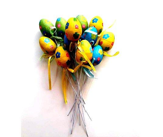 Ovos decorados de isopor com 12 unidades