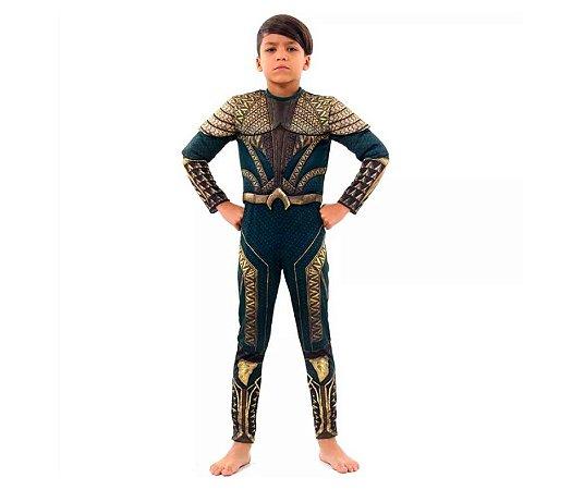 Fantasia Aquaman infantil tam M 6-8 anos
