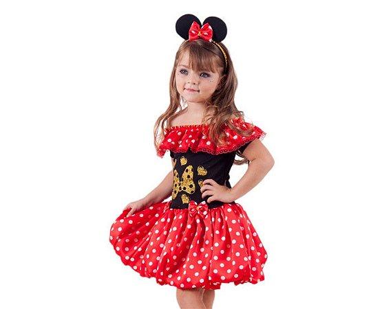 Vestido Minnie vermelho com dourado inf tam 2