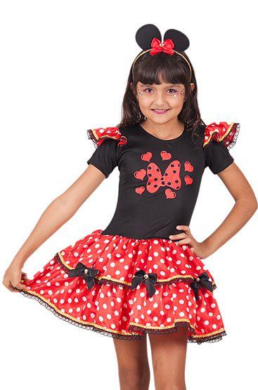 Vestido Minnie vermelho com laços inf tam 8