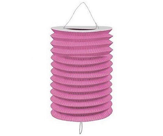 Lanterna Sanfonada Rosa 10 cm diâmetro
