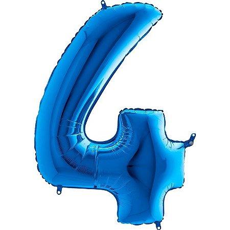 """Balão Metalizado Azul Número 4 40"""""""