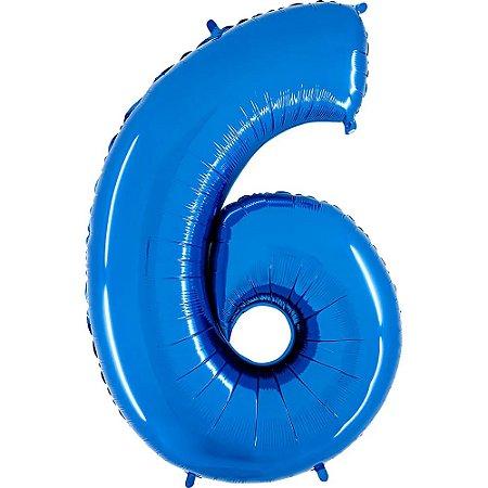 """Balão Metalizado Azul Número 6 40"""""""