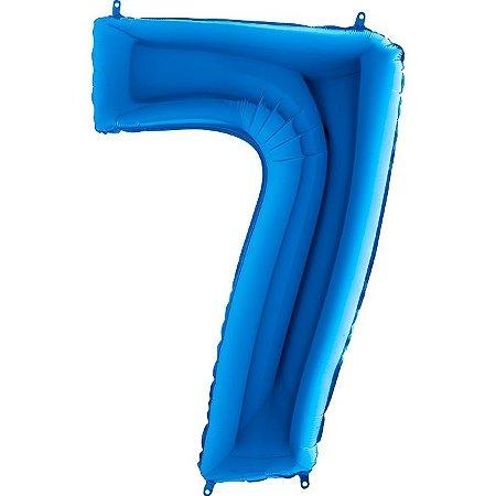 """Balão Metalizado Azul Número 7 40"""""""