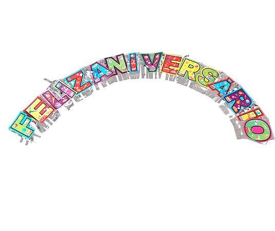 Faixa Feliz Aniversário Prateada