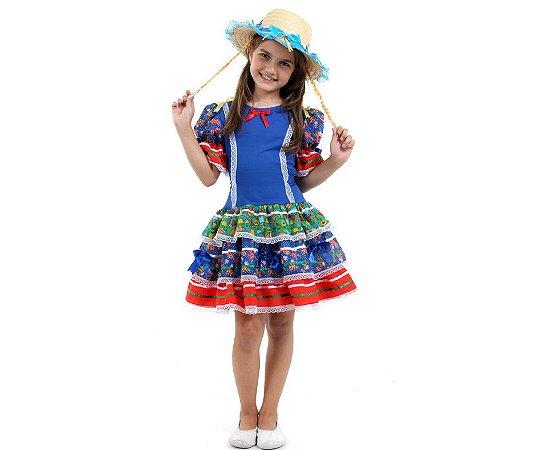 Vestido Caipira Azul Luxo tam M 6 a 8 anos